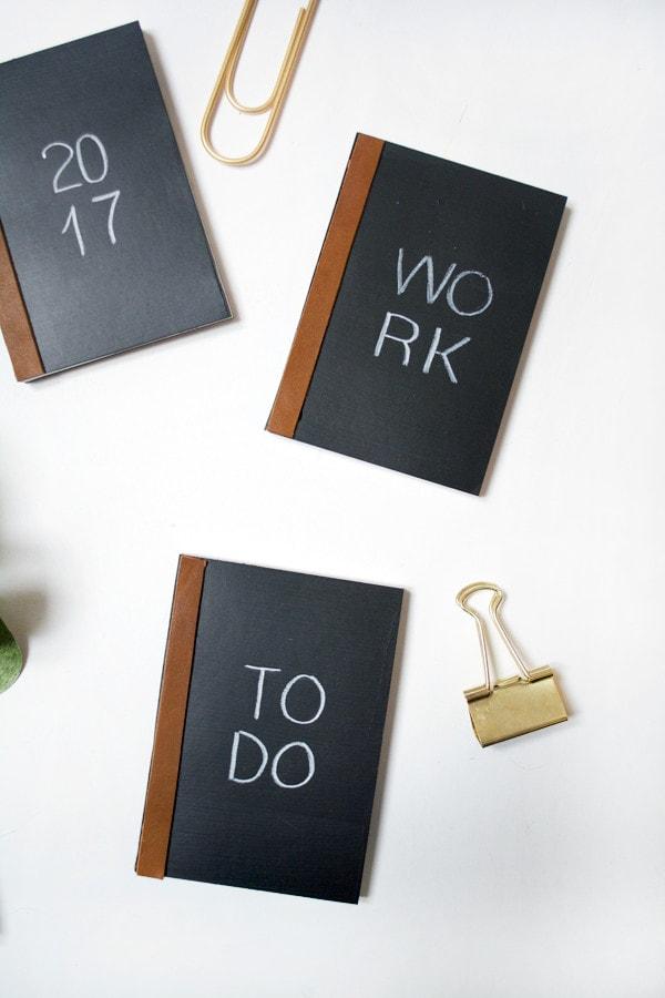 Cute notebook ideas - chalkboard paint notebooks