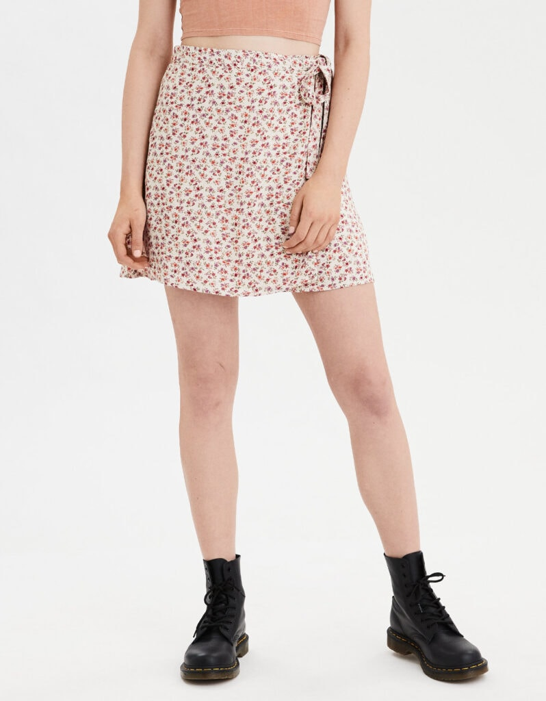 Best fall skirts - cute floral wrap skirt from AEO