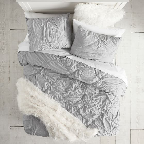 Gray ruched duvet cover