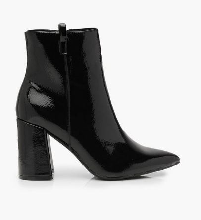Fall shoe trends - block heel bootie from boohoo, shiny patent leather