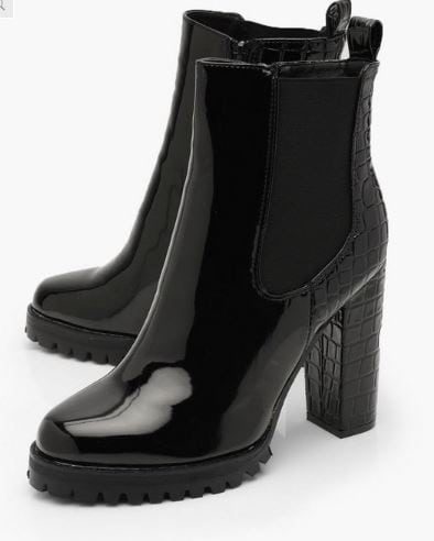 Fall shoe trends - high heel bootie from boohoo, shiny patent leather and lug sole