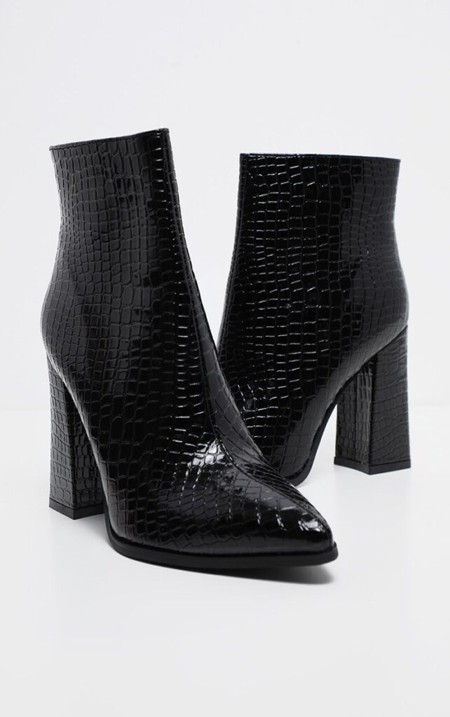 high heel patent leather croc-print bootie from pretty little thing