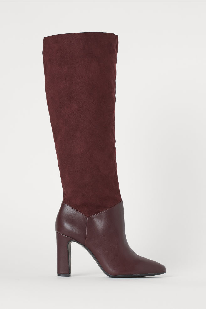 Red slouchy boots from H&M