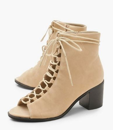 Fall shoe trends - brown lace up heels from boohoo