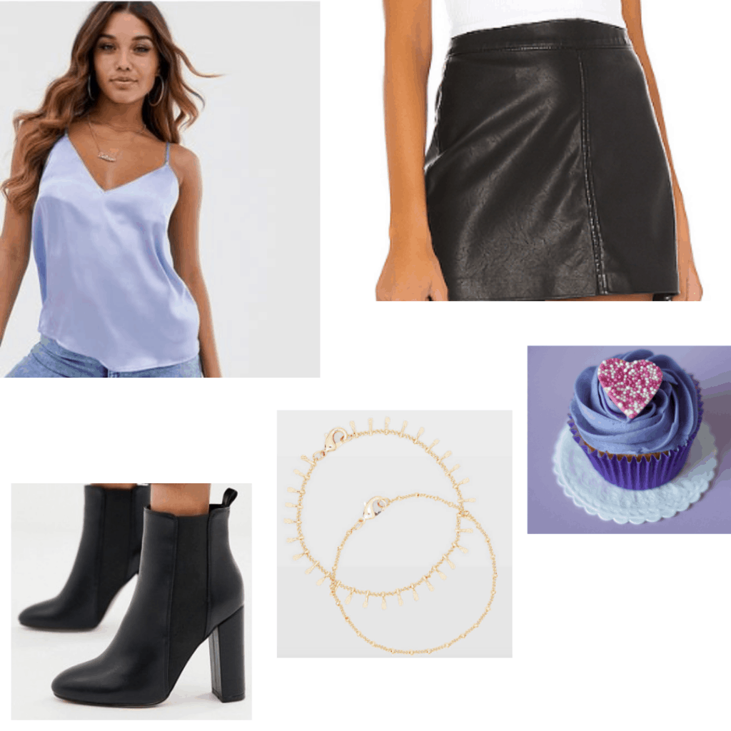 Birthday outfits ideas - lavender tank, leather skirt, ankle boots, choker