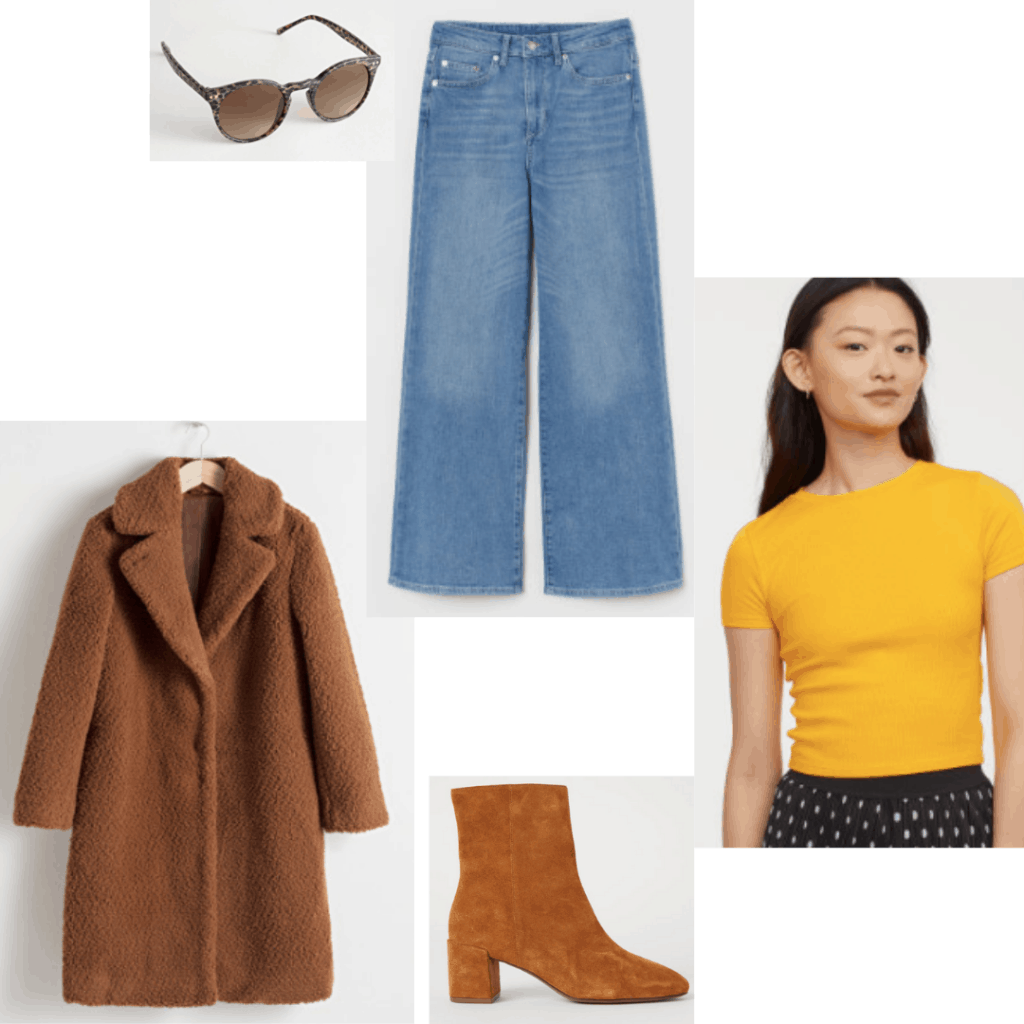 Outfit inspired by Lisa's style from Girl Interrupted (played by Angelina Jolie): Bell bottom jeans, fuzzy coat, yellow tee shirt, suede booties