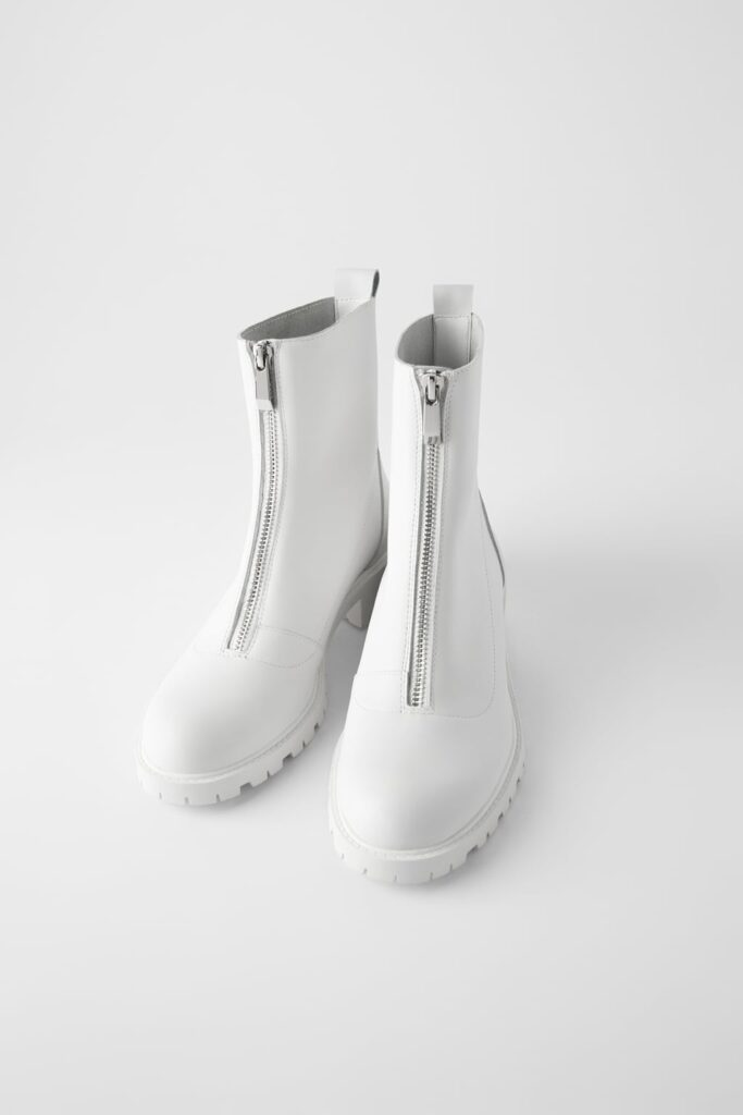 White zip up boots with tread, lug sole, from Zara