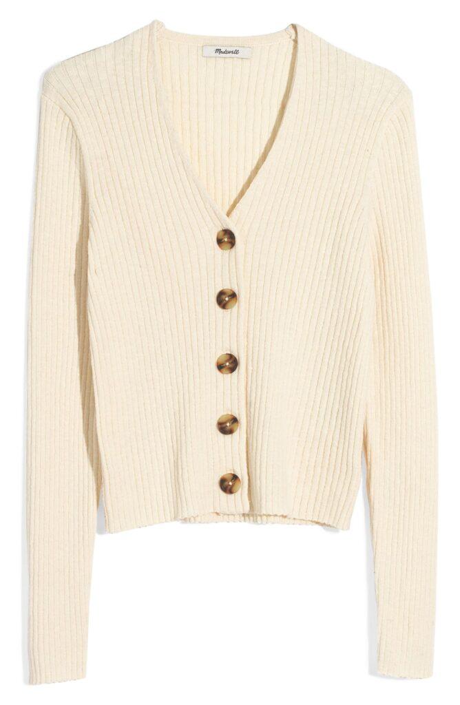 Madewell tortoiseshell button front cardigan in cream