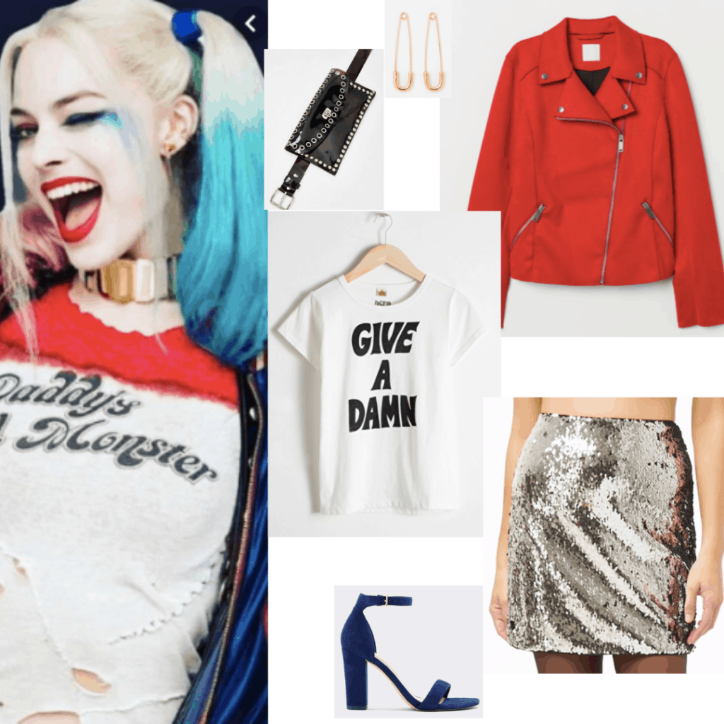 Harley Quinn Suicide Squad outfit with graphic tee, sequin skirt, red jacket, and blue heels