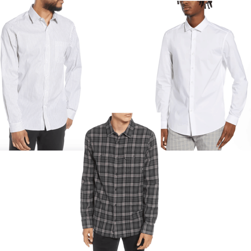 Mens button down in clean white, and plaid and striped.