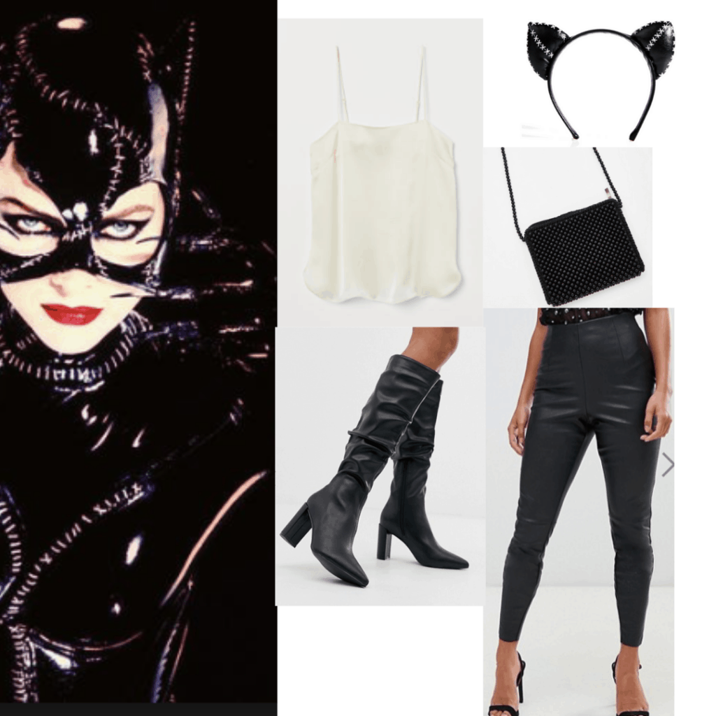 Outfit inspired by Batman Returns version of catwoman with leather pants, white tank, black boots