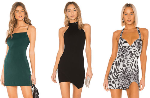 Theme party clothes every college girl needs - A green slip dress, black mini dress and an animal print mini dress.