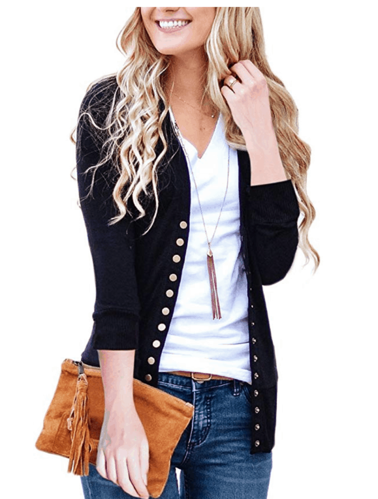 Neona v-neck button cardigan in black - best cardigans for fall