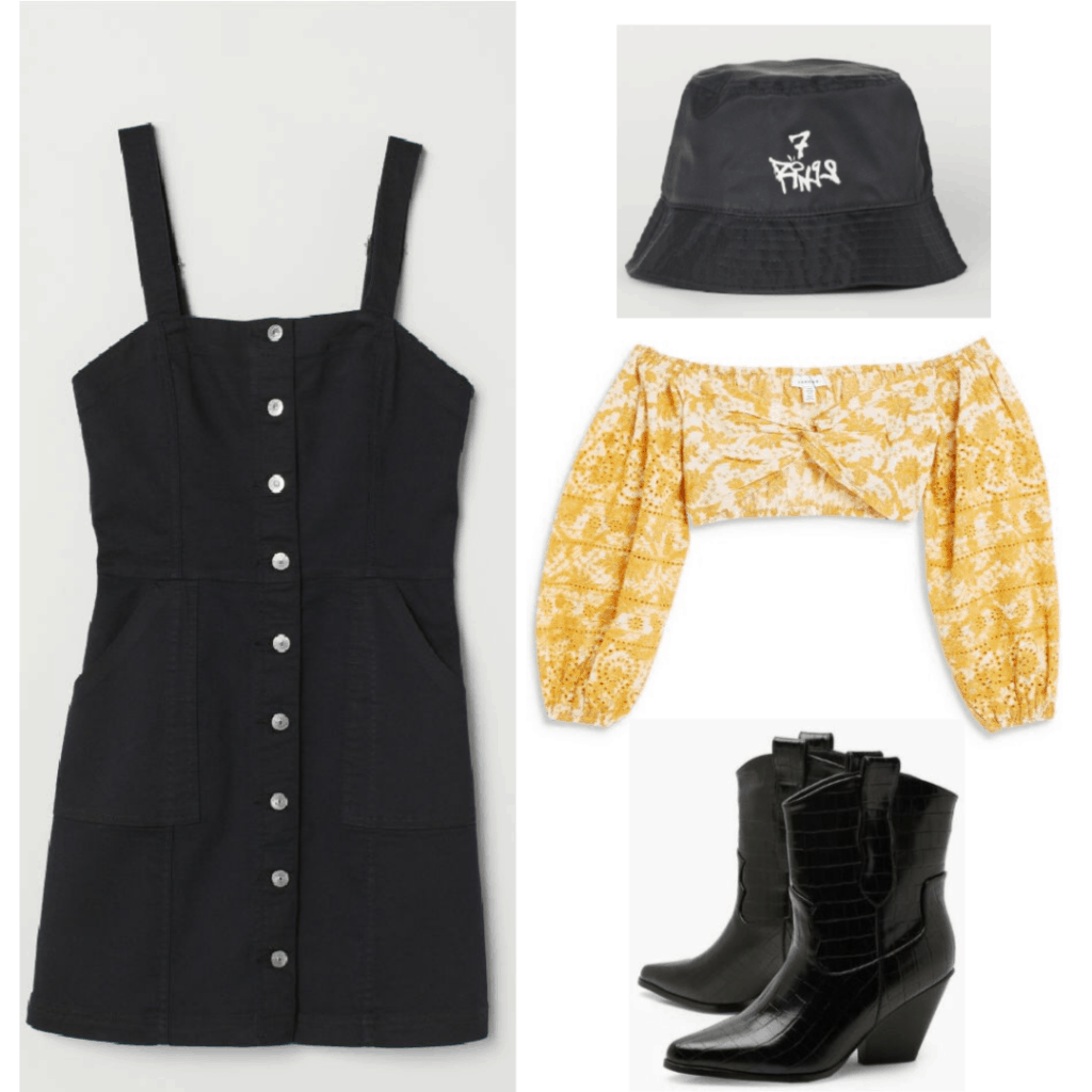 This outfit is made up of overalls, a yellow off-the shoulder blouse, an Ariana Grande collection bucket hat (7 Rings) and  a pair of cowboy boots.