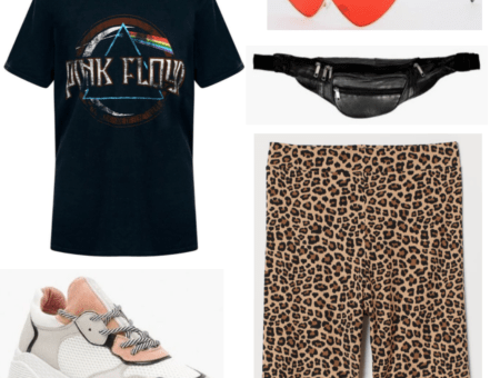 This outfit is made up of a Pink Floyd graphic tee, a pair of leopard print biker shorts, chunky sneakers, a belt-bag (or bumbag, fanny pack) and a red pair of cat eye sunglasses.