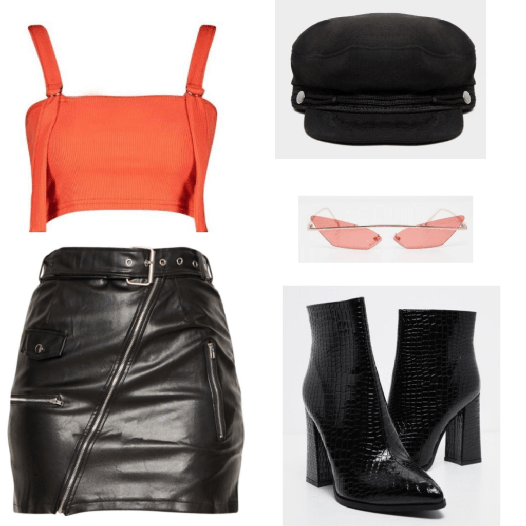 This outfit is made up of an orange crop top with buckle detailing, a leather skirt with zippers, a baker boy cap, a pair of red sunglasses and a pair of crocodile print booties.