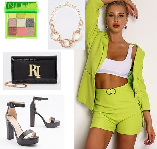 Sabrina Carpenter outfit with neon green suit, strappy heels, gold necklace, black clutch