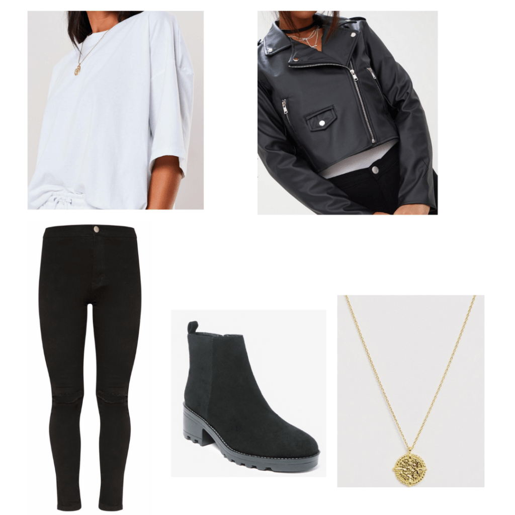 Veronica Mars style - outfit inspired by Veronica in season 4 with black skinny jeans, white oversized tee, black moto jacket
