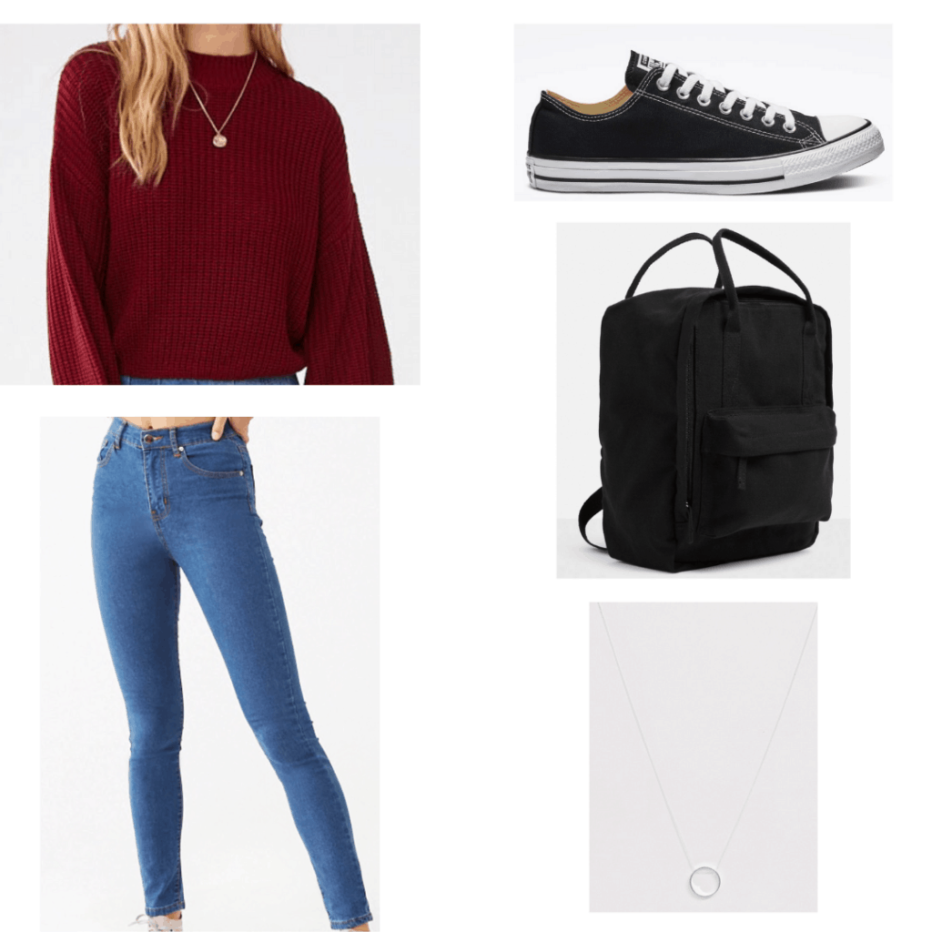 Veronica Mars outfit inspired by Matty's style in Season 4 - blue skinny jeans, necklace, burgundy sweater, black backpack
