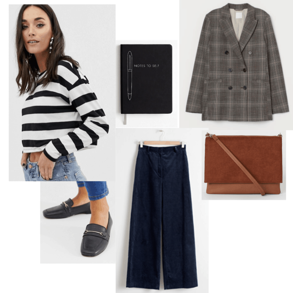 Girl interrupted fashion - Susanna outfit with striped shirt, wide leg trousers, plaid blazer, notebook, loafers