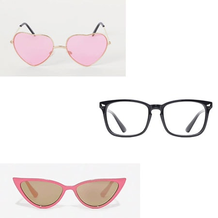 Glasses for theme parties: Heart shaped sunglasses, clear frame glasses, cat eye sunglasses