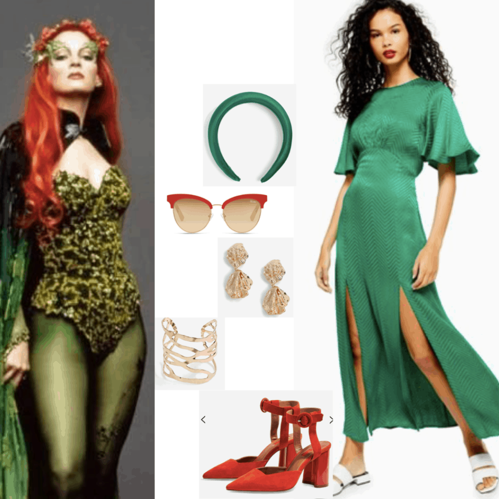 Poison ivy outfit with green dress, red heels, red sunglasses, gold jewelry