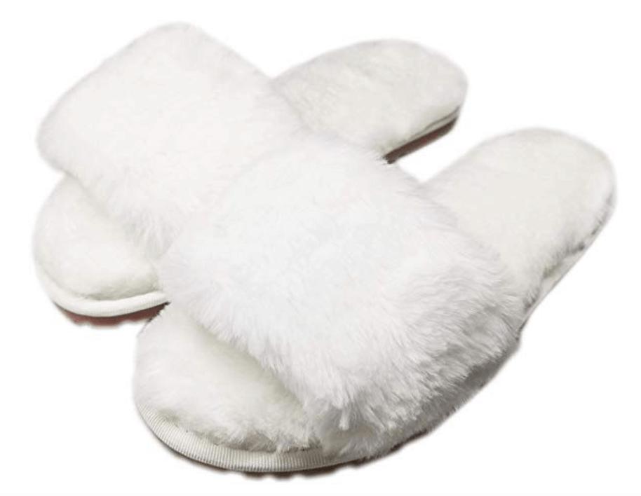 White fluffy slippers