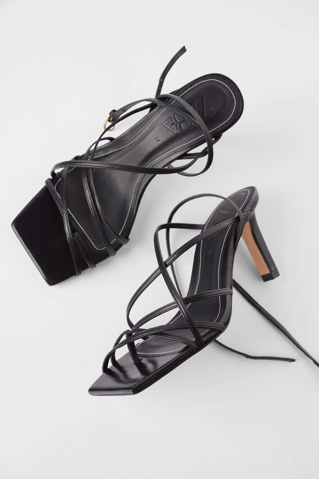 Square toe heeled sandals in black with long leather straps