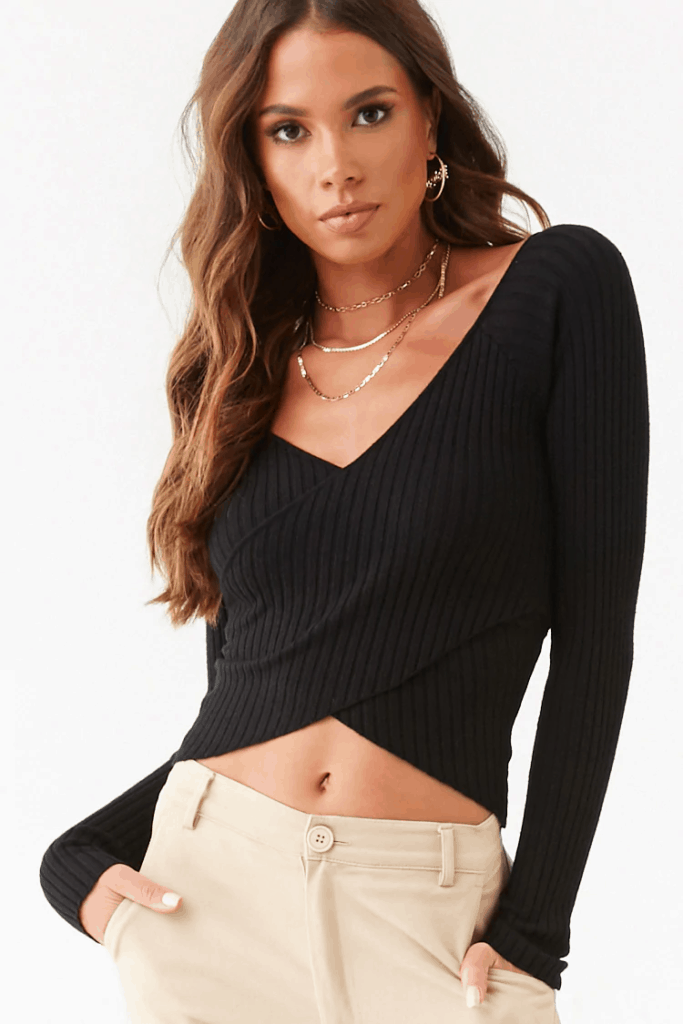 Fall tops - black cropped wrap sweater from Forever 21