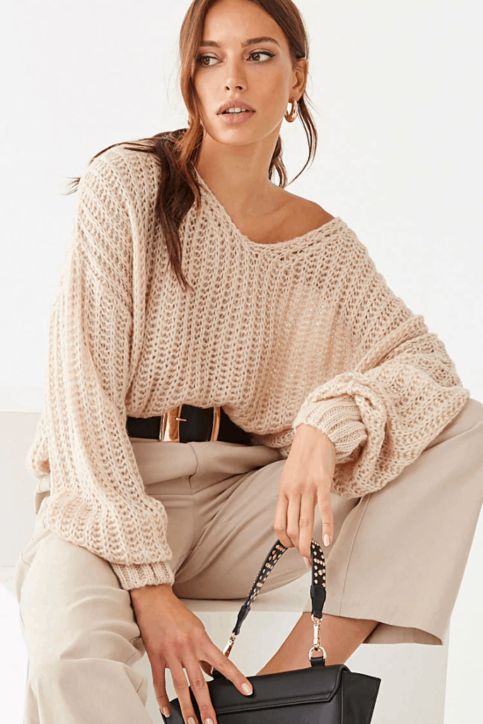 Cute fall tops - oversized knit sweater
