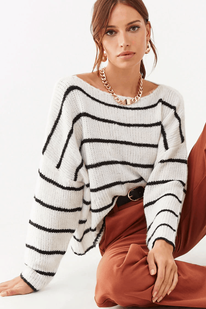 Forever 21 cream and black striped sweater