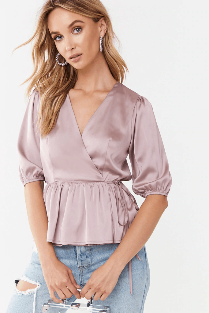 Purple satin wrap top