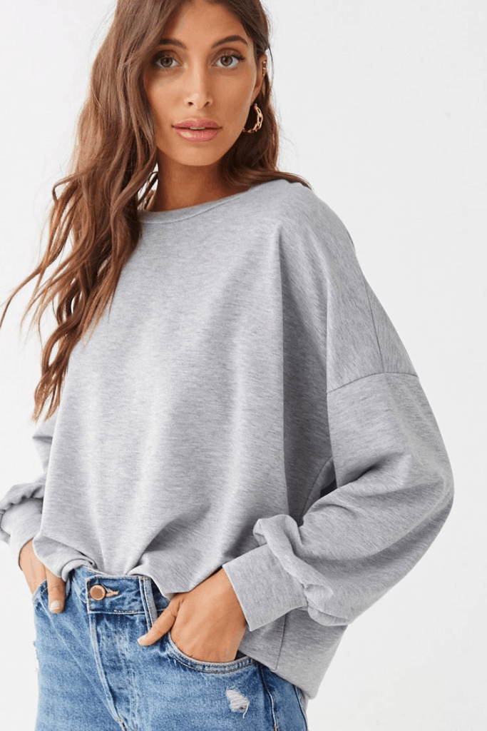 Oversized gray crew sweatshirt