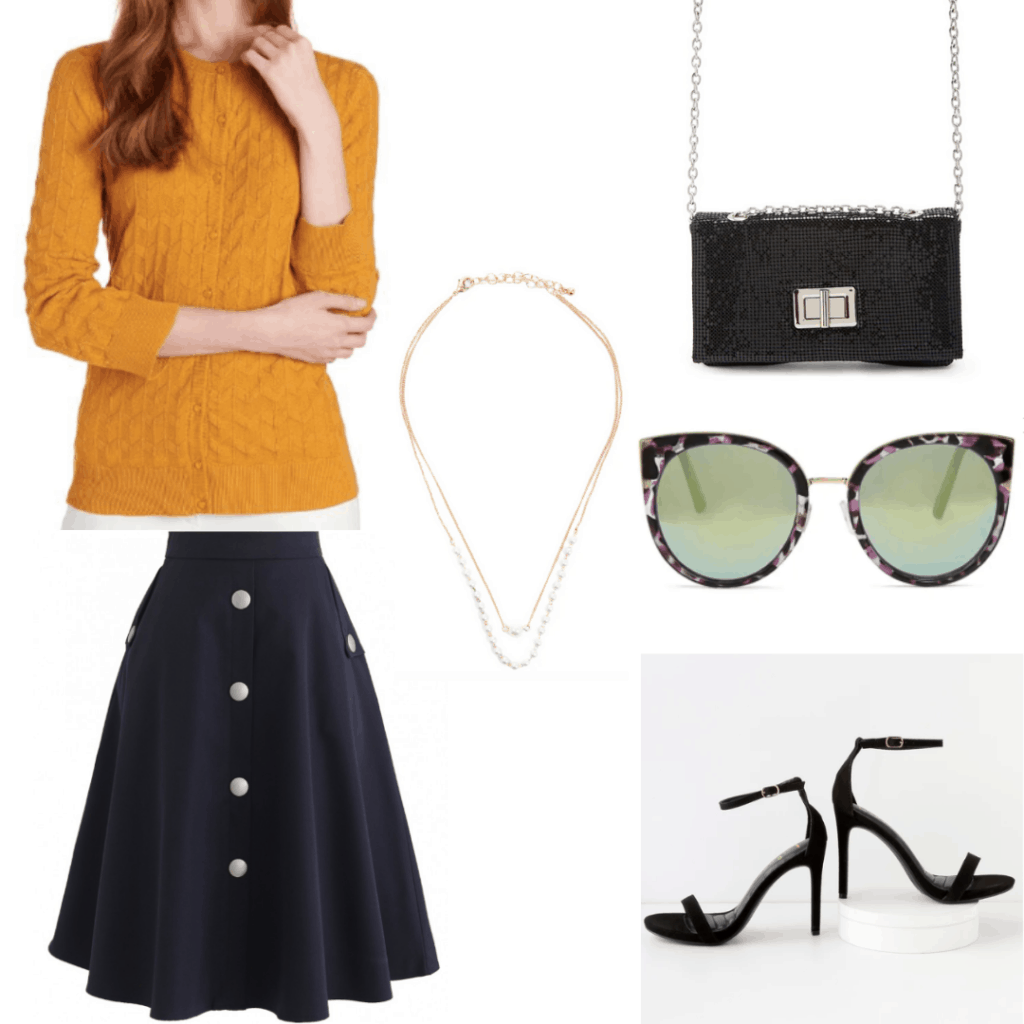 1950s fashion - outfit inspired by 50s style with long skirt, strappy heels, cat eye sunglasses, cable knit sweater, chain strap bag