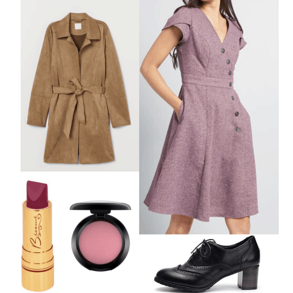 1950s inspired outfit with tweed dress, trench coat, pink blush, oxfords