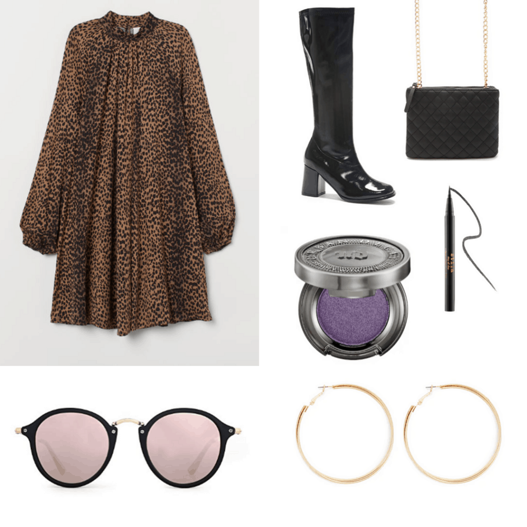 60s fashion - mod outfit with leopard dress, gold hoop earrings, purple eyeshadow, retro sunglasses, go go boots