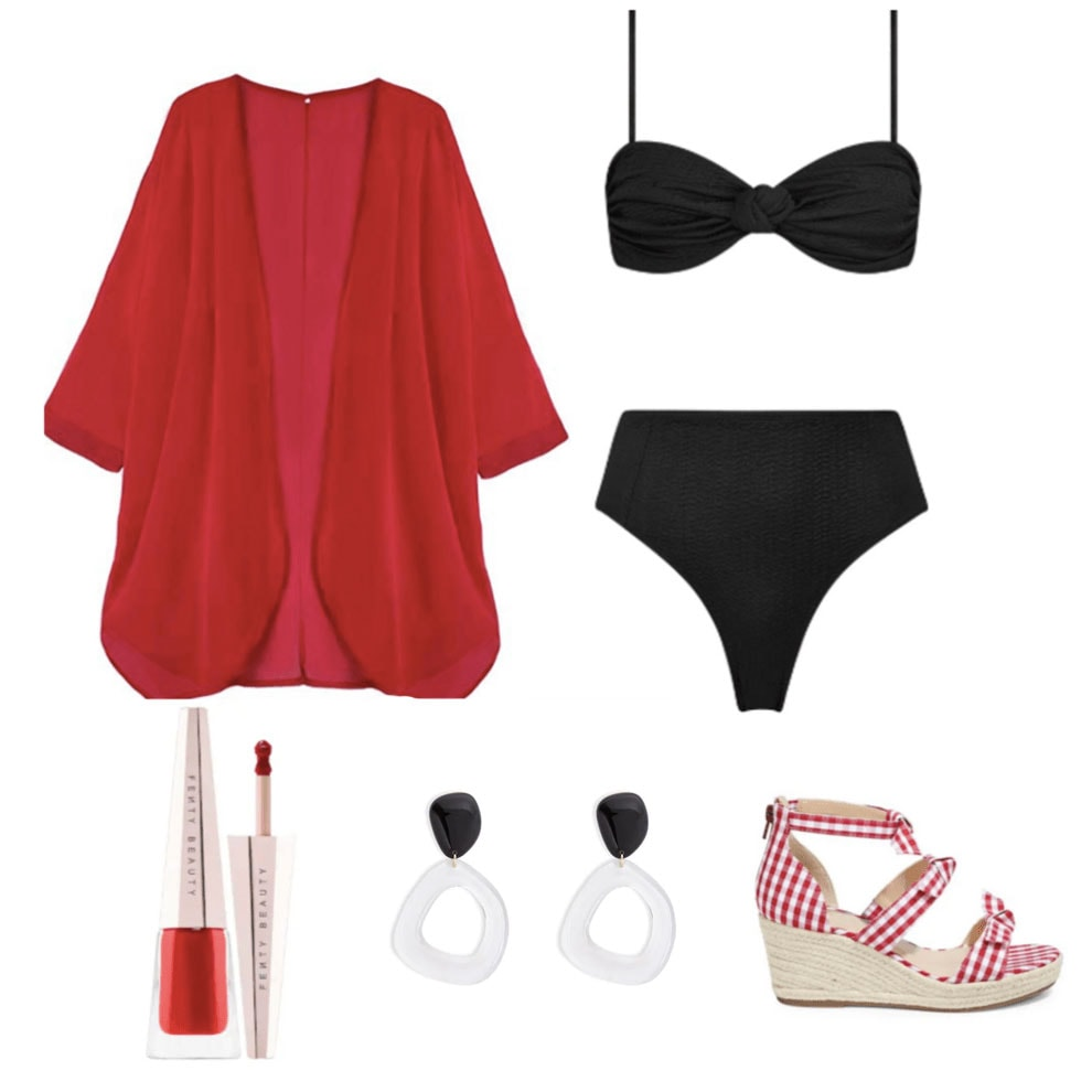 60s fashion - bikini outfit with retro bathing suit, cover-up, mod earrings, and espadrilles