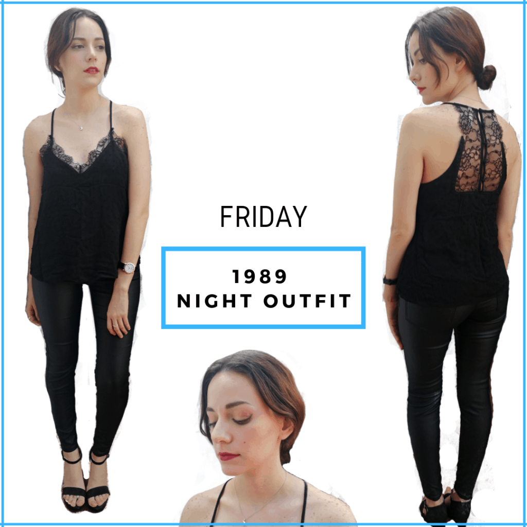 Taylor Swift 1989 album. Night look: lace top, coated jeans, black heels