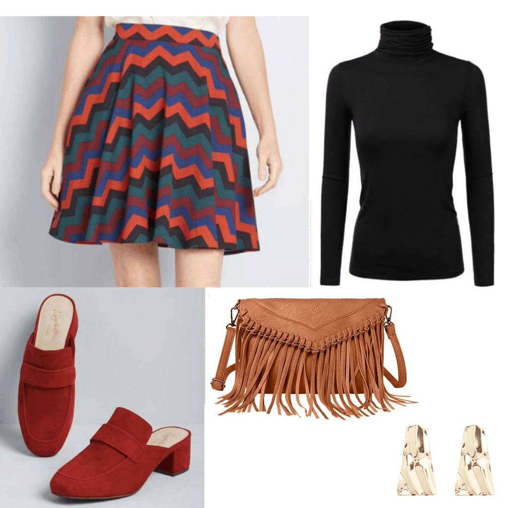 60 fashion: Outfit with patterned skirt, turtleneck, fringe bag, earrings, and suede loafers