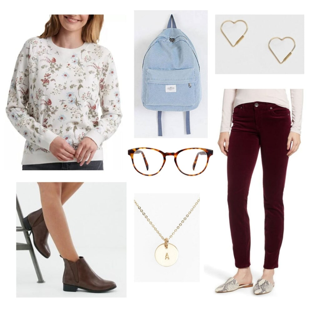 Floral sweatshirt, denim backpack, heart earrings, burgundy jeans, glasses, initial necklace, boots.