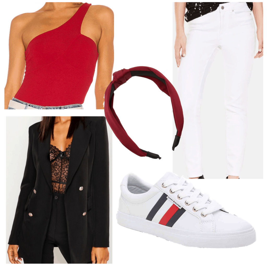 How to wear white after labor day - An outfit set featuring white jeans, black blazer, sneakers, red top