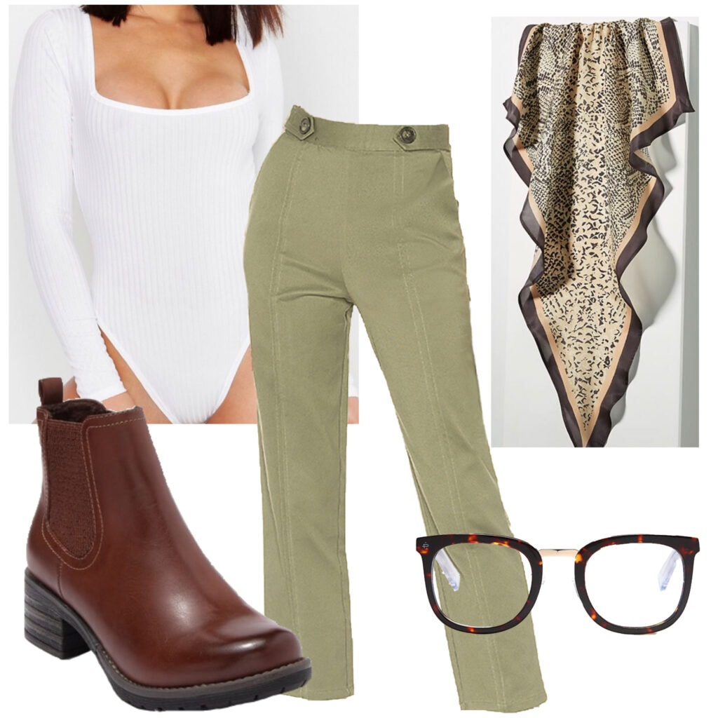 White after labor day - An outfit set featuring a white bodysuit, green pants, burgundy boots, glasses, scarf
