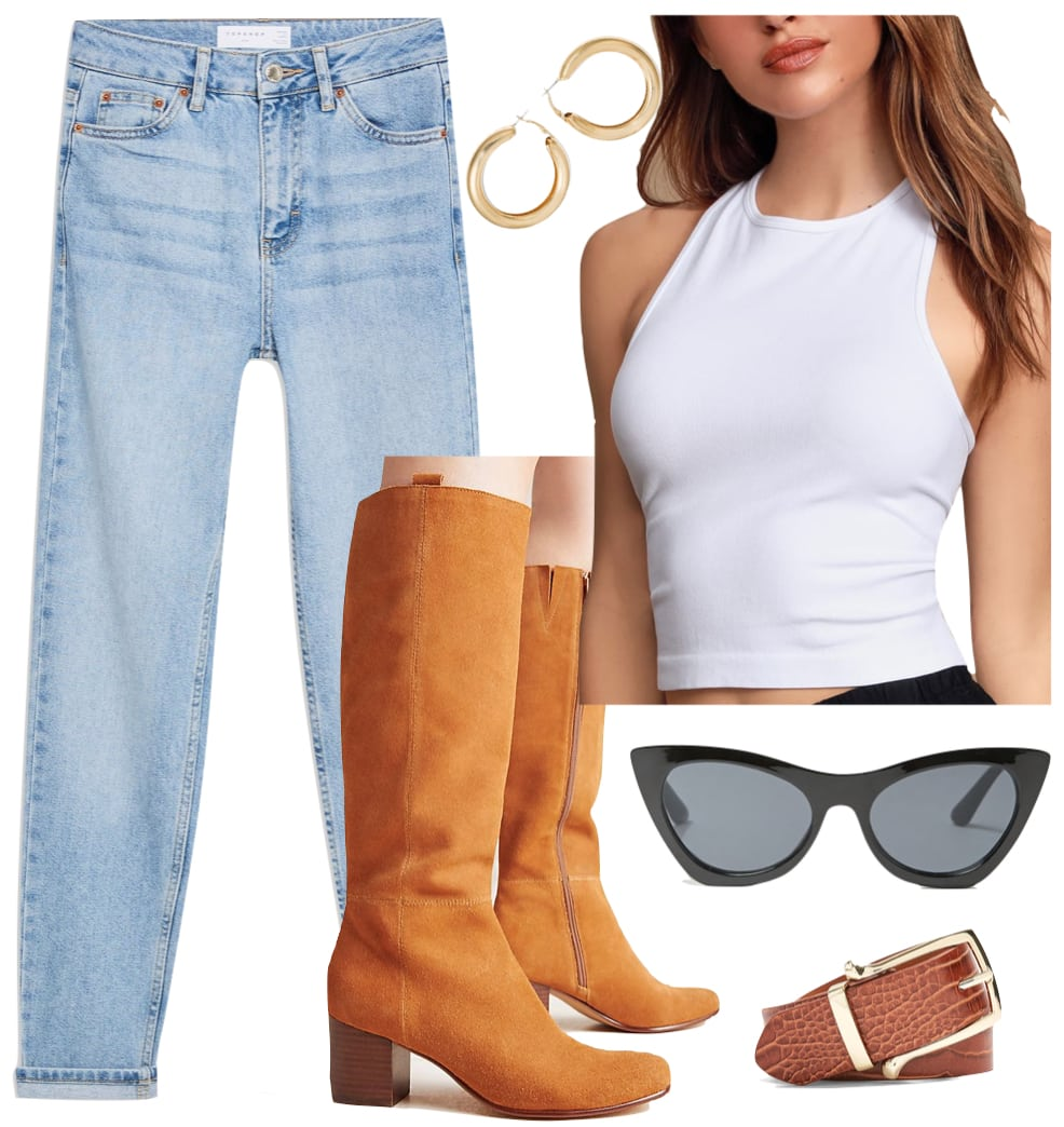Emily Ratajkowski white tank top outfit: white sleeveless tank top, chunky gold hoop earrings, black cat-eye sunglasses, high rise mom jeans, brown crocodile and gold belt, and mustard colored knee high boots
