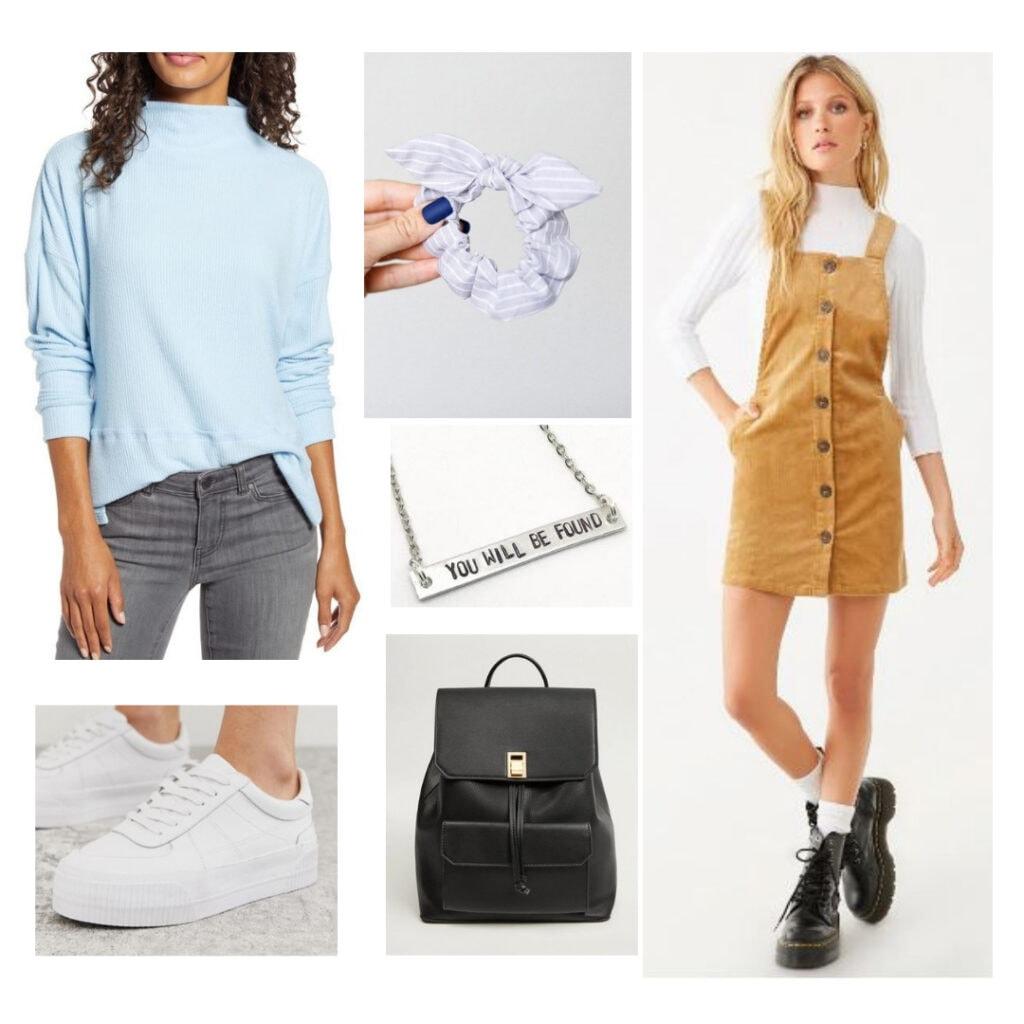 Light blue sweater, striped blue scrunchie, tan courderoy dress,