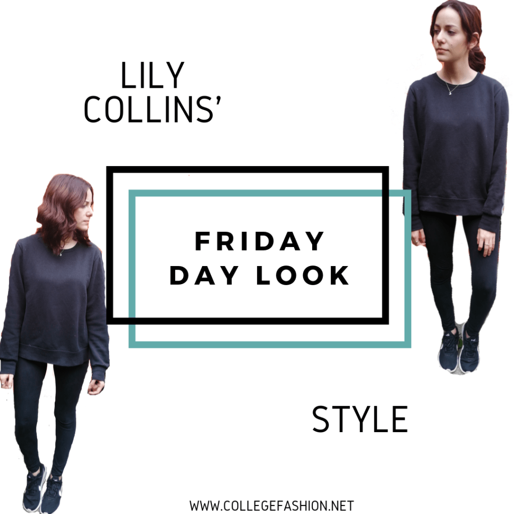 LILY COLLINS STYLE FRIDAY DAY LOOK: LEGGINGS, SWEATSHIRT, SNEAKERS