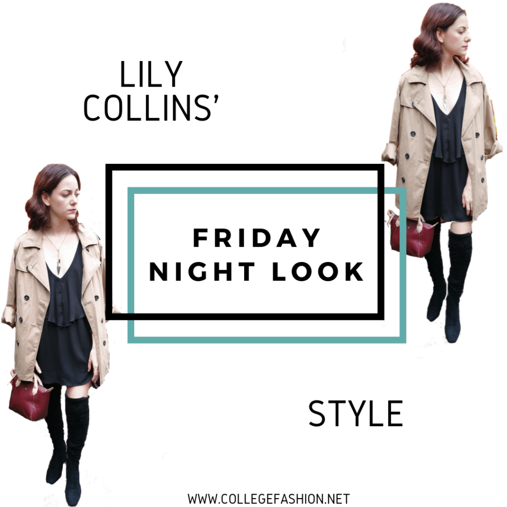 LILY COLLINS STYLE FRIDAY NIGHT LOOK : BLACK DRESS, OVER THE KNEE BOOTS, BEIGE COAT
