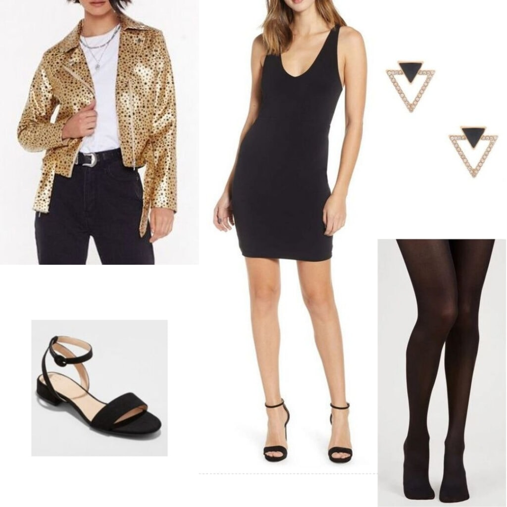 Cute fall outfit for night out: speckled gold jacket, little black dress, black tights and shoes, and geometric earrings.