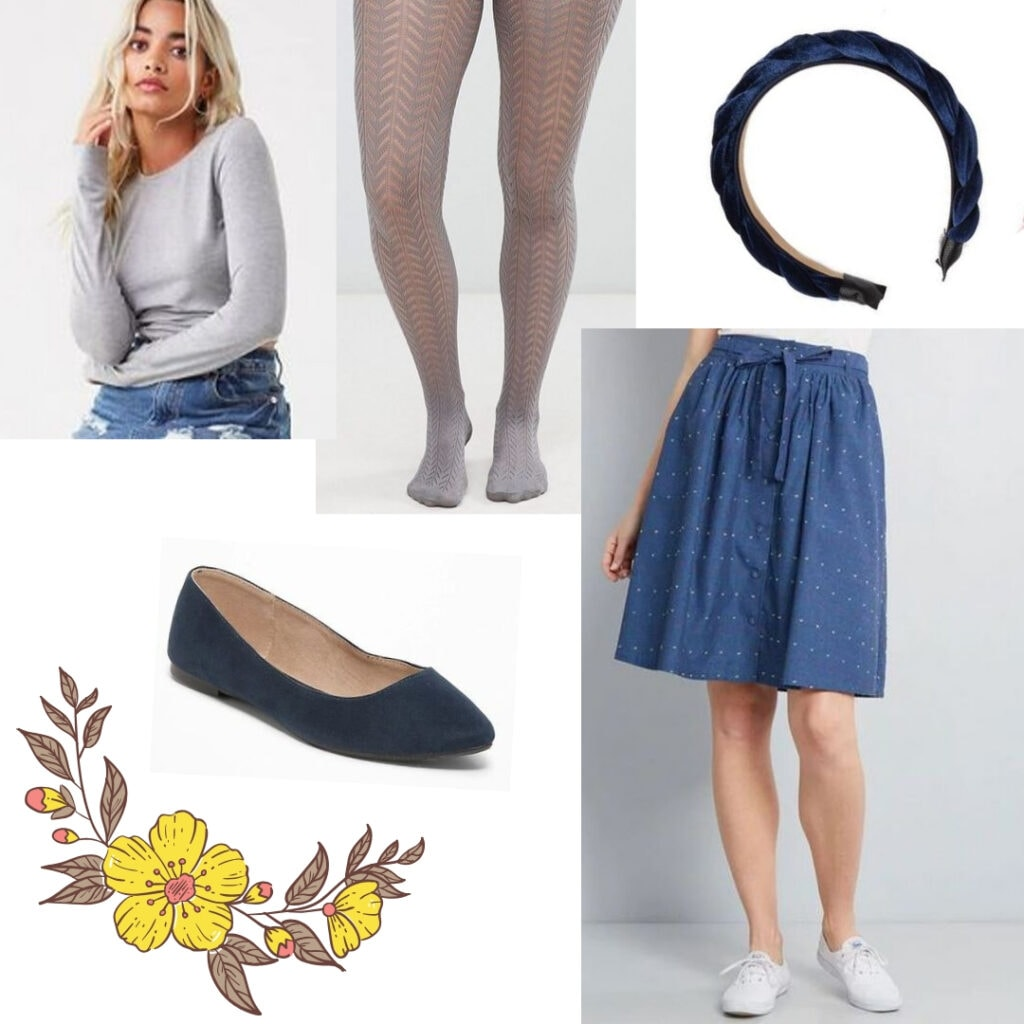 Grey top, grey tights, blue skirt, blue headband, blue flats.
