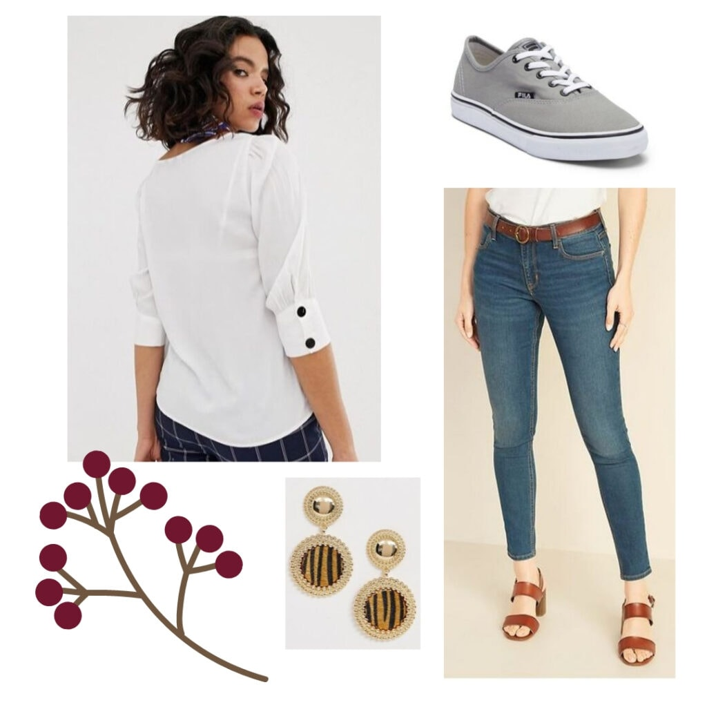 Fall outfits under 0: White blouse, blue jeans, grey sneakers, gold animal pattern earrings.