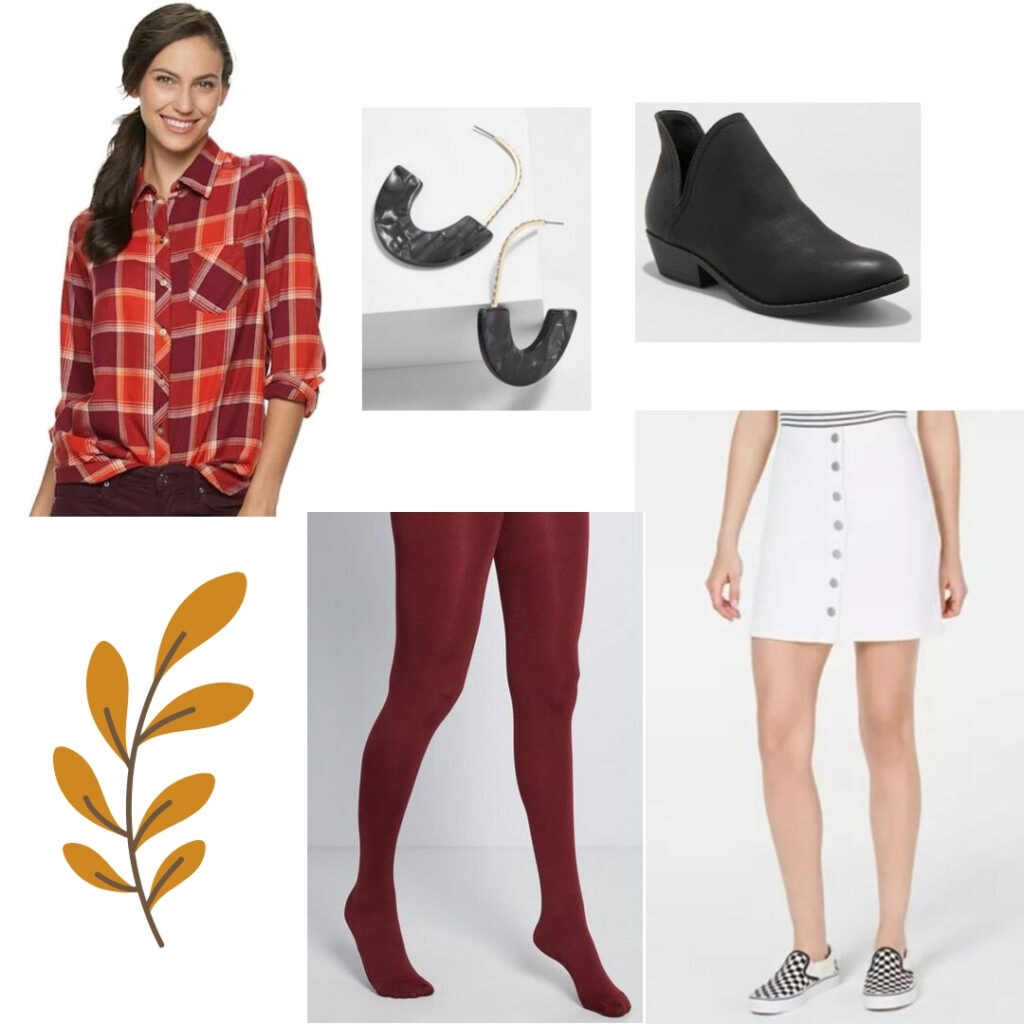 Fall outfits for school - Orange and red flannel shirt, white skirt, red tights, black hoop earrings, and black boots.